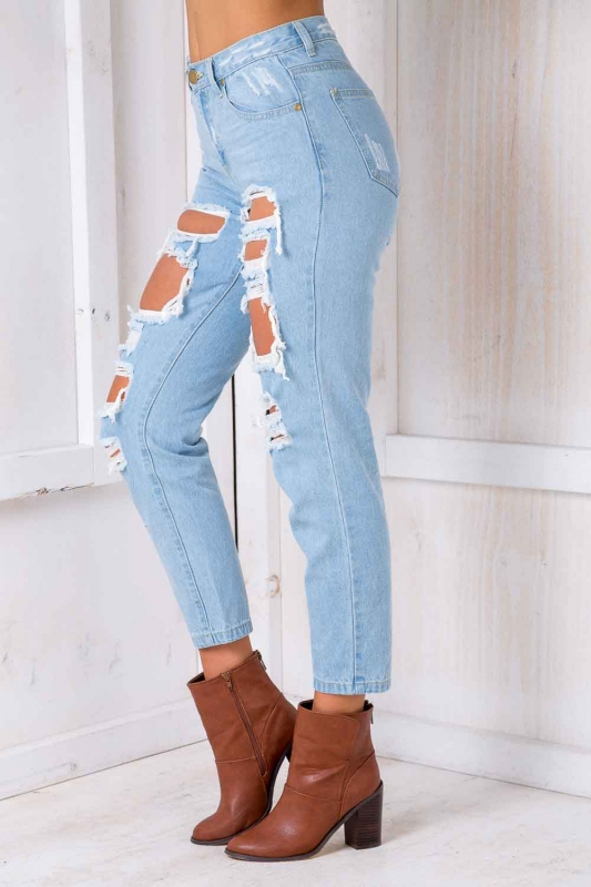 7d985172c90 Jana ripped mom jeans - Light Blue. Loading zoom