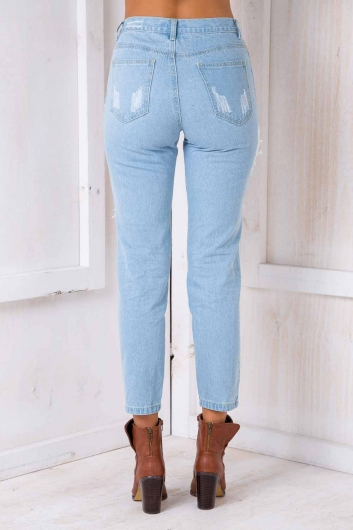 Jana ripped mom jeans - Light Blue