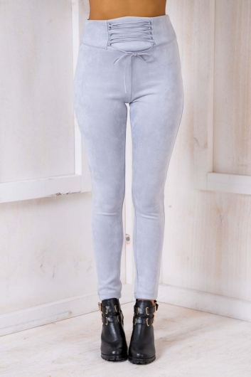 Love In The Mist Suede Pants - Grey