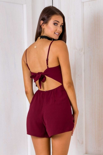 Tropicana Playsuit - Maroon