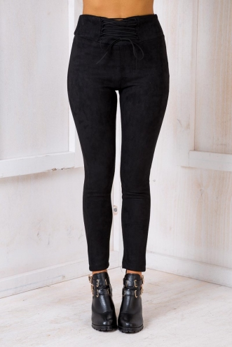 Love In The Mist Suede Pants - Black