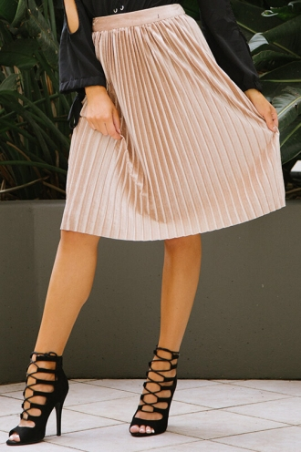 Pleats Me Skirt- Gold