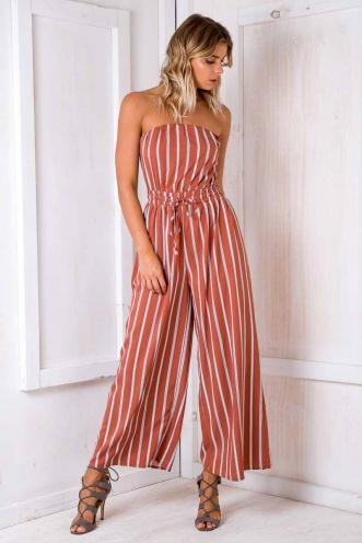 Party Nights Jumpsuit - Terracotta/ White Stripe