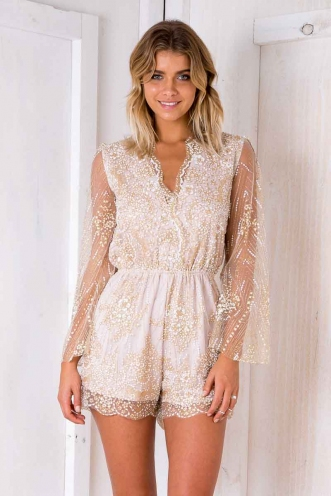 Tea Rose Playsuit - Blush Sequin