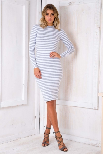 Robin Dress - Grey/ White Stripe