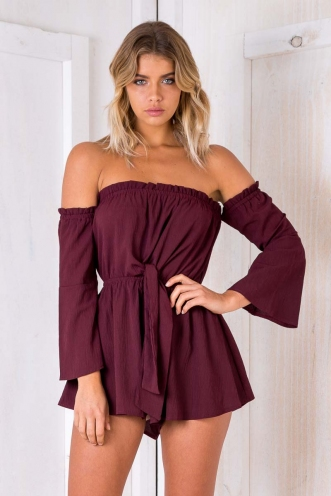 Rainforest Playsuit - Maroon