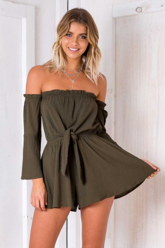 Rainforest Playsuit - Khaki