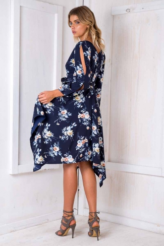 Topaz Dress - Navy Floral