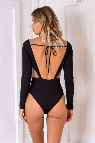 Sacred Lotus Bodysuit - Black