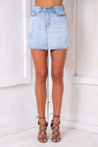 Rip It Up Skirt - Light Washed denim