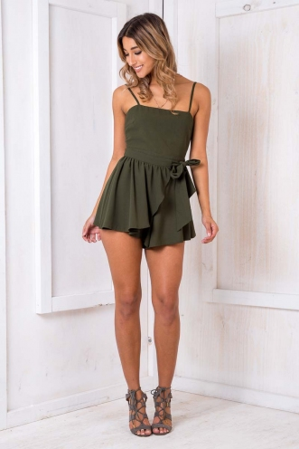 Star Signs Playsuit - Khaki