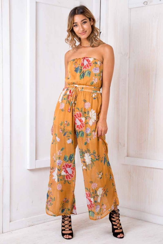 e0a695f99a7 Party Nights Jumpsuit - Mustard Floral SALE - Stelly