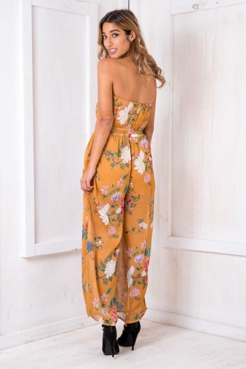 Party Nights Jumpsuit - Mustard Floral