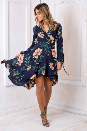Cecilia wrap dress - Navy Floral