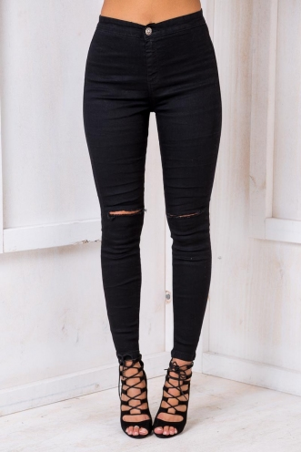 Blackcurrent Cheesecake Womens Skinny Jeans - Black