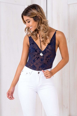 Lovers And Sinners Bodysuit- Navy Floral