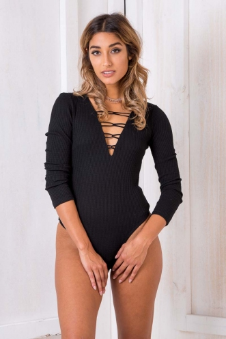 Her Majesty Bodysuit - Black-SALE