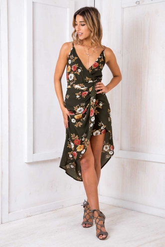 Livvy drape dress - Khaki Floral