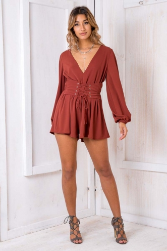 Up And About Playsuit - Terracotta