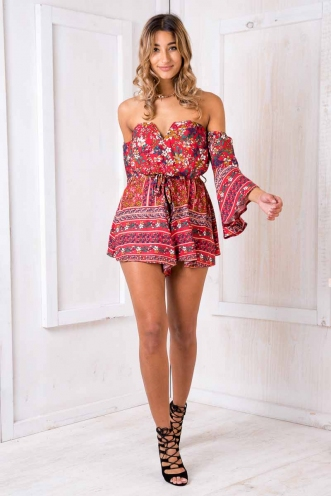 Tori playsuit - Red floral