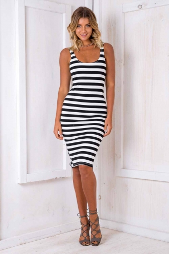 Leonie Firm Dress - Black/ White Stripe