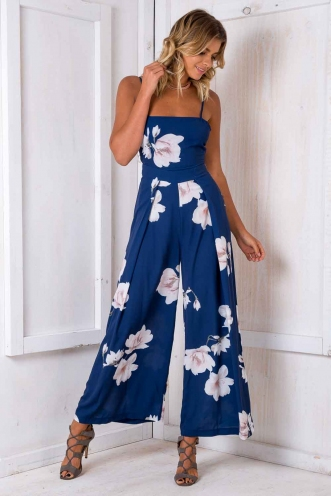 Spirit Walker Jumpsuit - Blue Floral