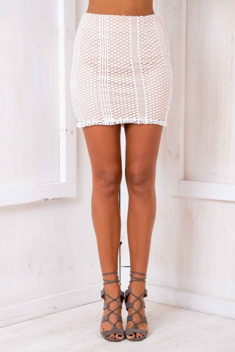 Casablanca Skirt - Nude/ White