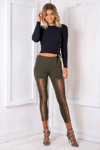 Biker Chick Pants - Khaki