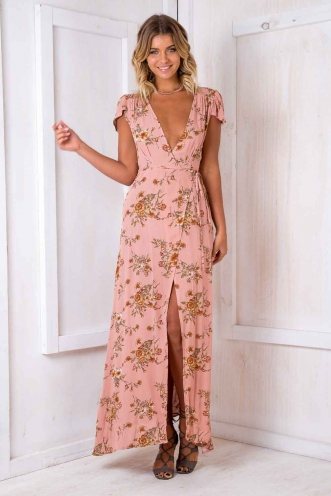 Oriental Wrap Dress - Blush Floral