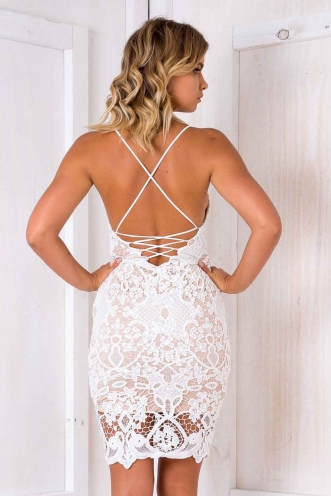 Ocean Melodies Dress - Nude/ White Lace