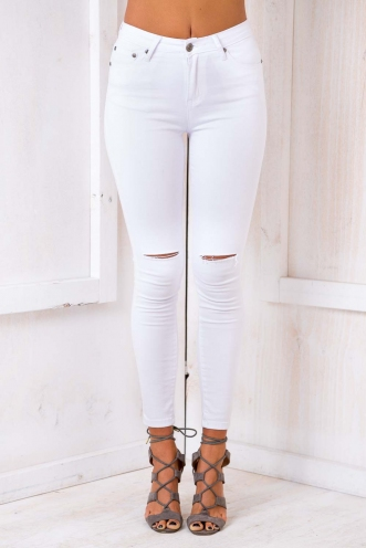 Coco Berry Womens Skinny Leg Jeans - White Denim