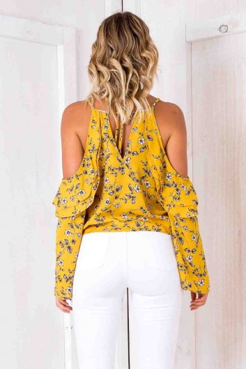 Fantasy Top - Burnt Mustard Floral
