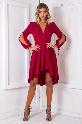 Cecilia wrap dress - Maroon