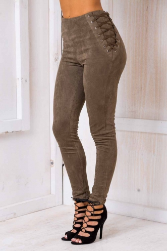 Attraction Suede Pants - Khaki