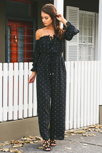 Smitten Jumpsuit - Black Polka Dots