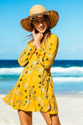 Clarissa Wrap Dress - Mustard Floral