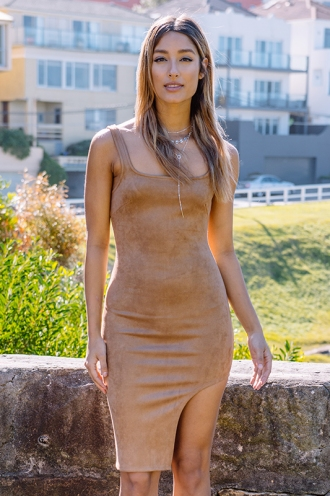 Knock On Wood Dress - Brown Suede
