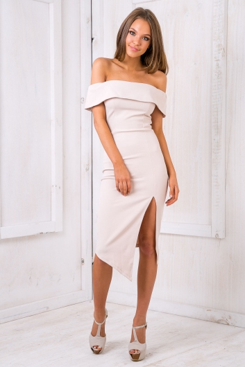 Renata off the shoulder dress - Beige