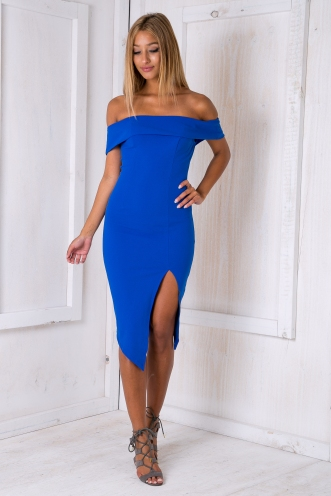 Renata off the shoulder dress - Electric Blue