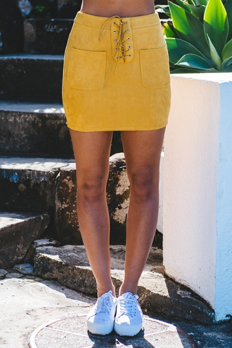 Trouble Maker Skirt - Mustard Suede