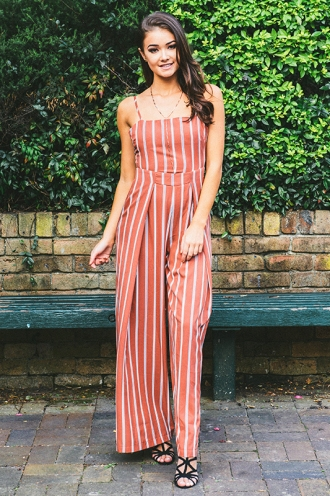 Spirit Walker Jumpsuit - Terracotta Stripe