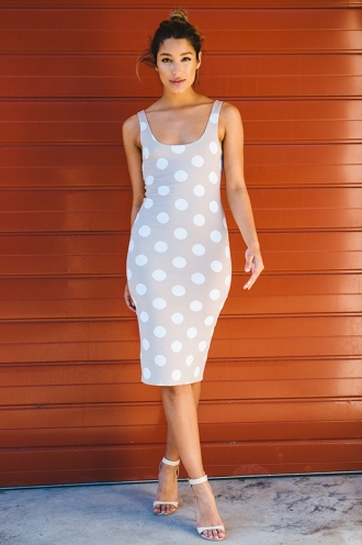 Leonie Firm Dress - Beige Polka Dots