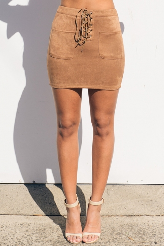 Trouble Maker Skirt - Tan Suede