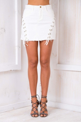 Loving Life Skirt - White Denim