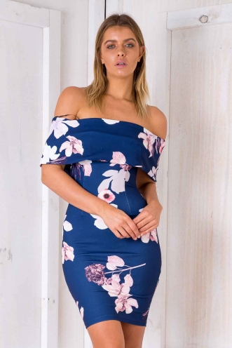 Stacey Strapless Dress - Blue Floral