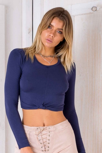 Cameron Crop Top - Midnight Blue