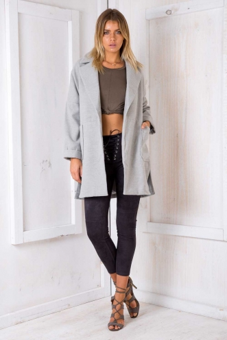 Moving On Up Coat - Grey