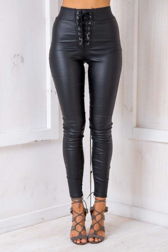 By The Way Leatherette Pants - Black