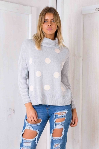 Billie Jean Jumper - Grey Polka Dots