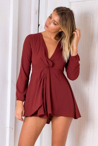 Hit Me Up Playsuit - Terracotta